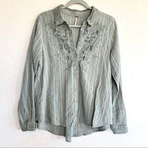 Free People Sage Green Crochet Button Down Top